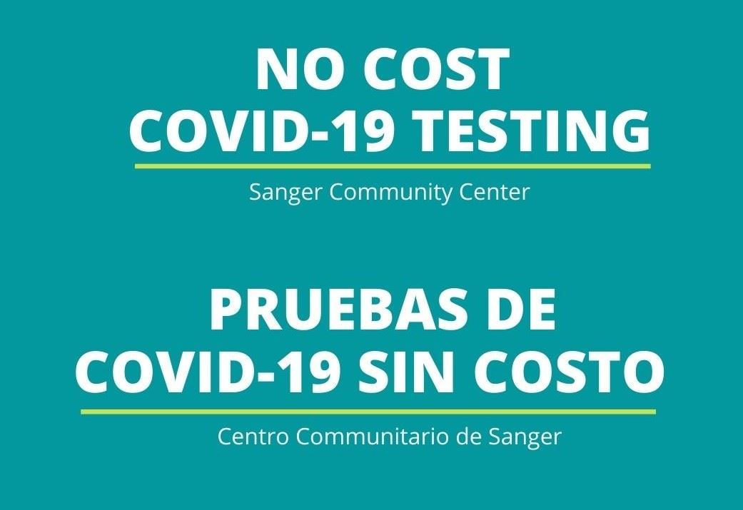 IMAGE - NO Cost Covid-19 Testing English - Website logo - 10-26-2020