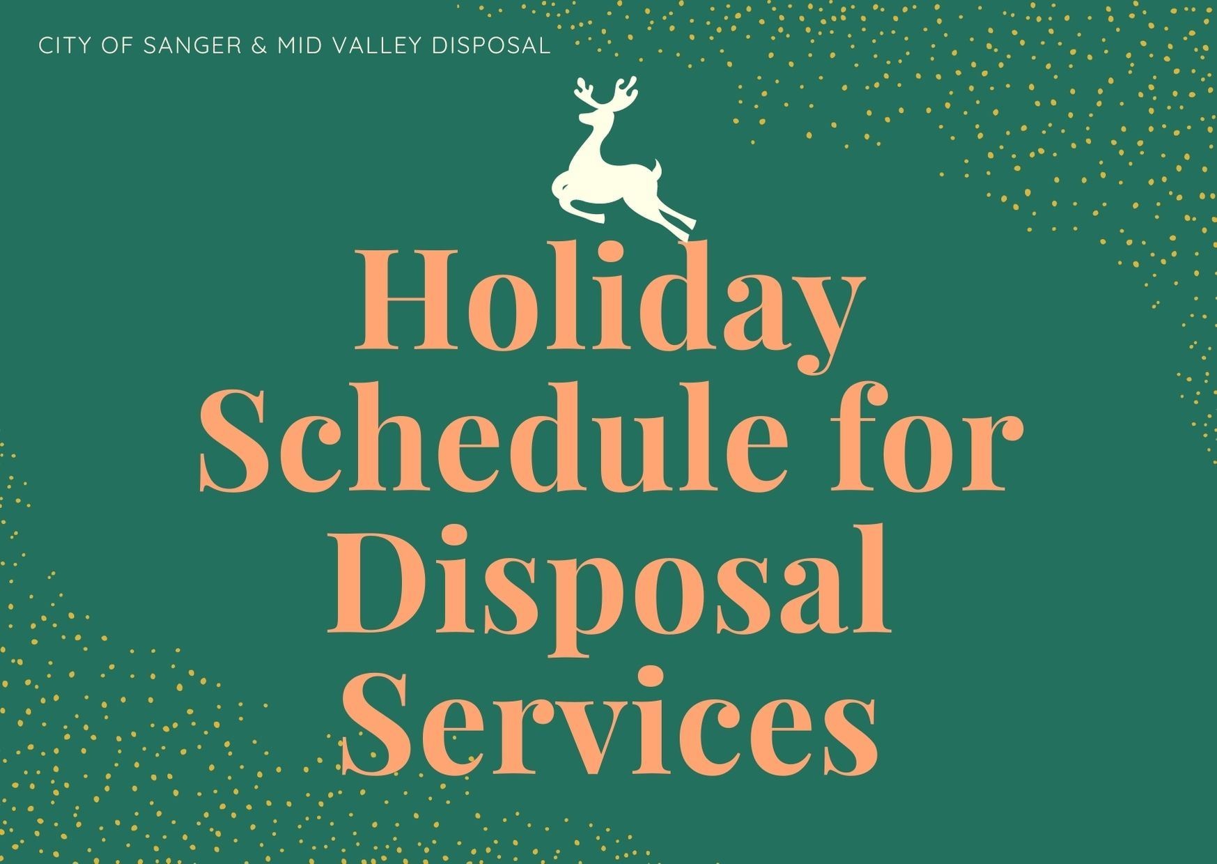 Holiday Schedule for Disposal Services