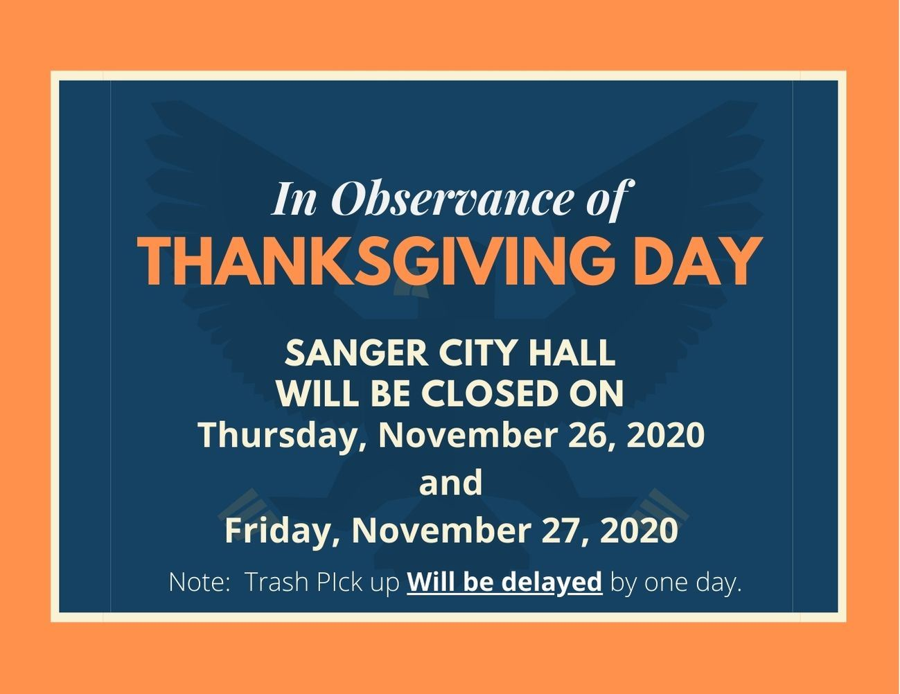 Thanksgiving Day 2020 City Hall Closed November 26 and 27- English Flyer