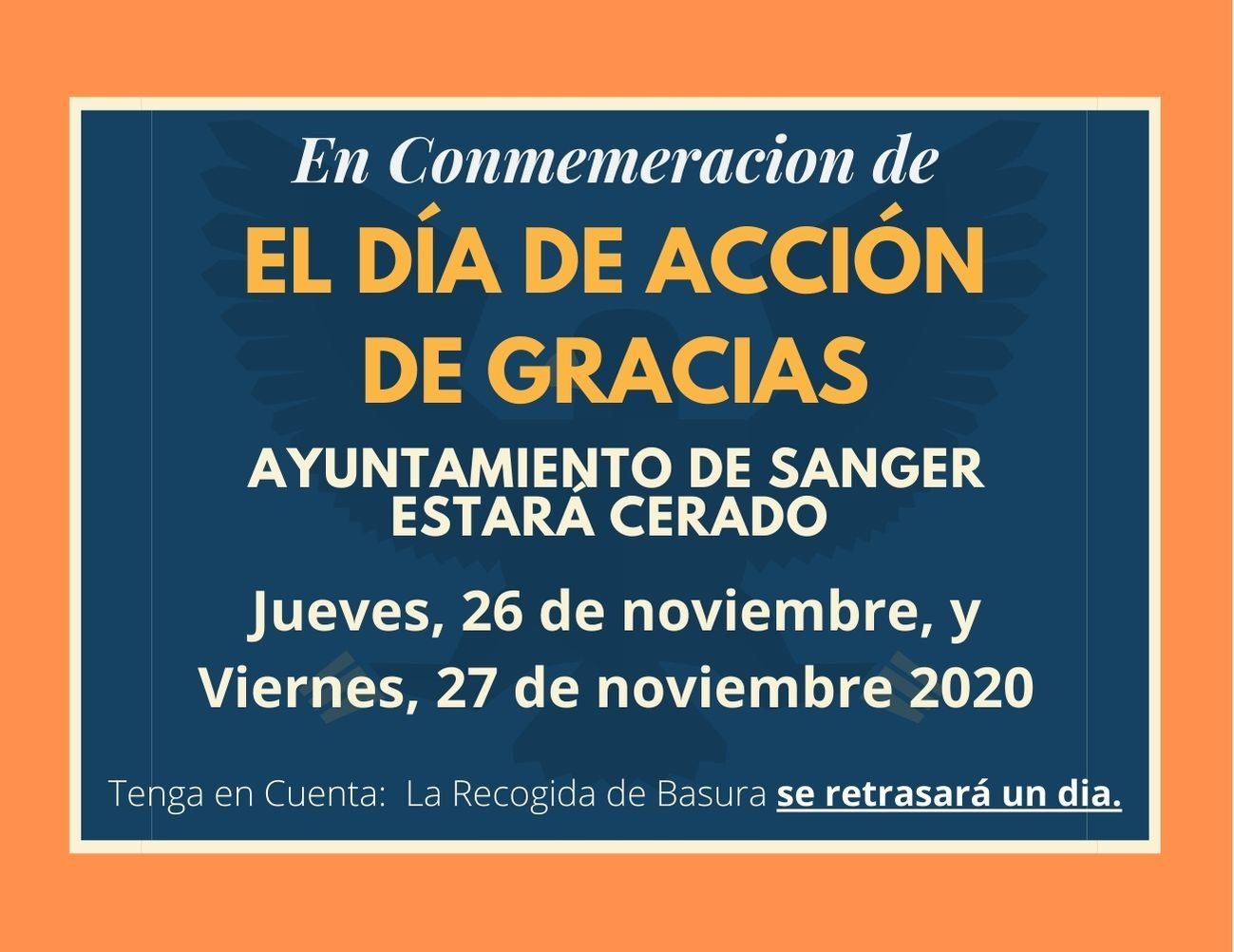 Thanksgiving Day 2020 - City Hall Closed November 26 and 27 SPANISH Flyer