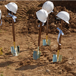 ground breaking - dirt, shovels, hardhats