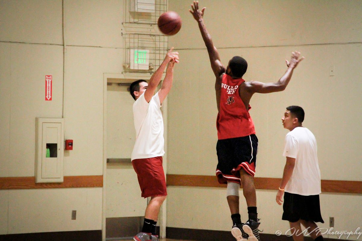 Adult Basketball 3 players- One player  shooting-  two players playing defense