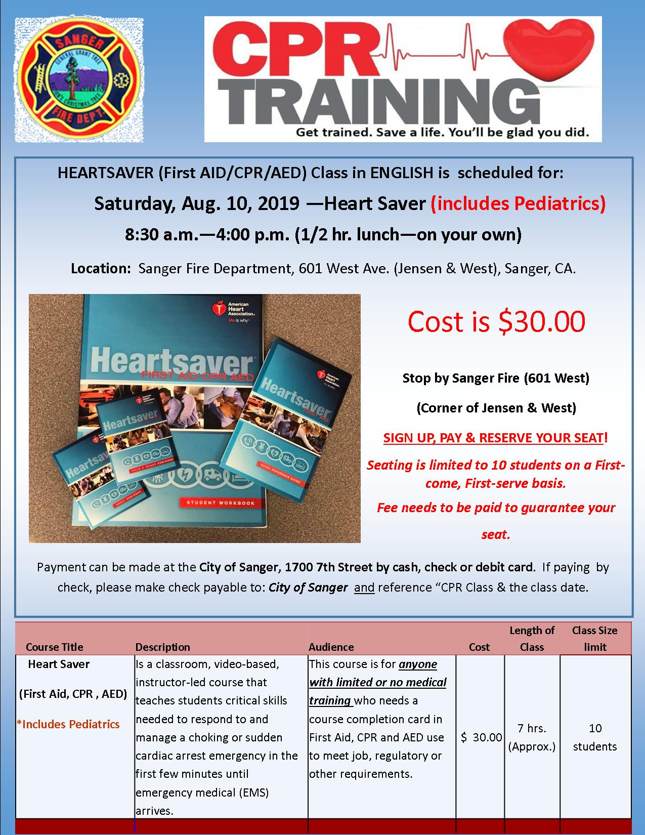 Upcoming CPR class Aug 10, 2019