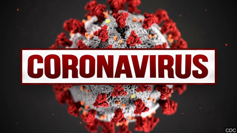 Coronavirus red with black background red letters