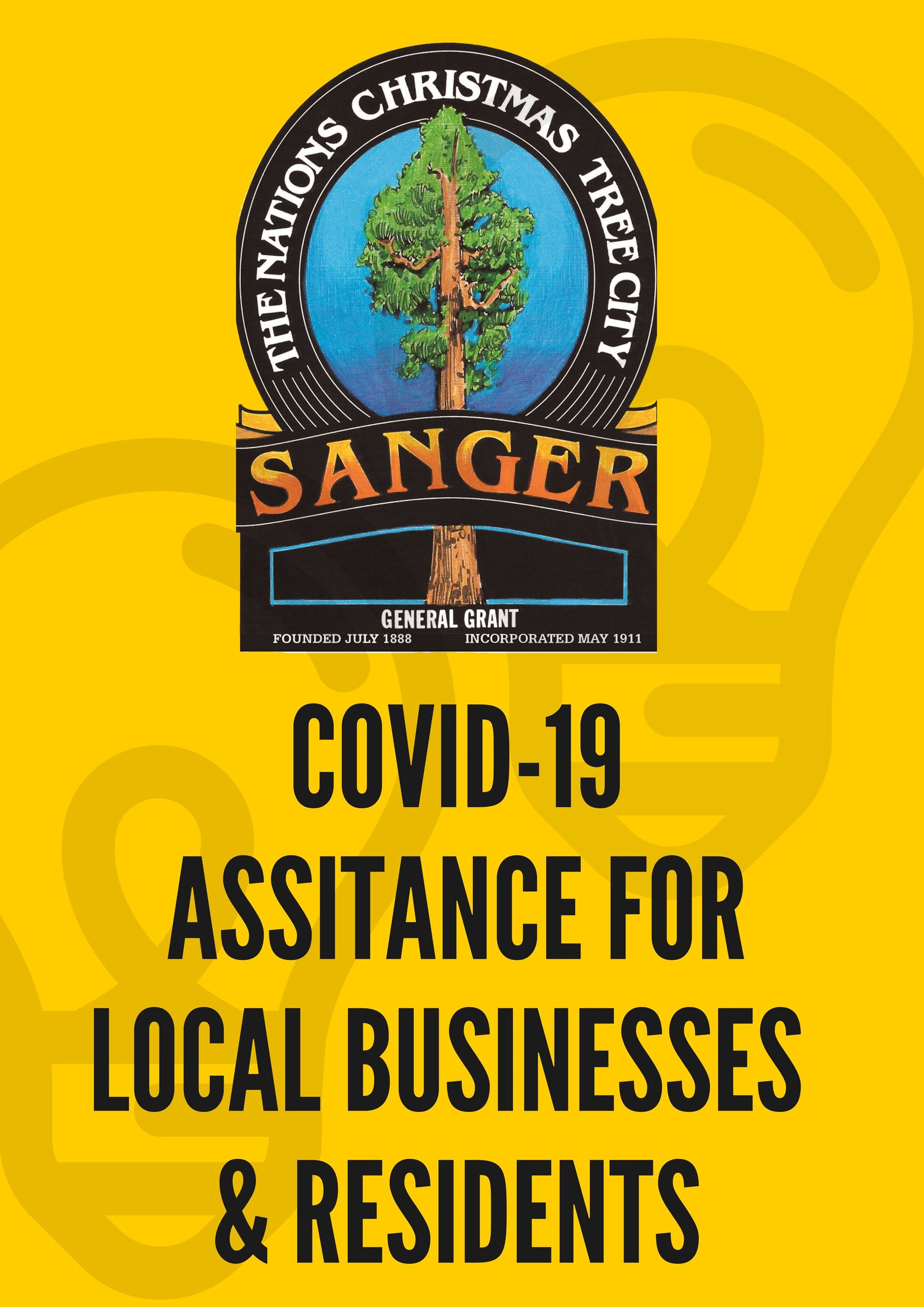 Sanger Business and Residents Yellow, black letters, City Logos