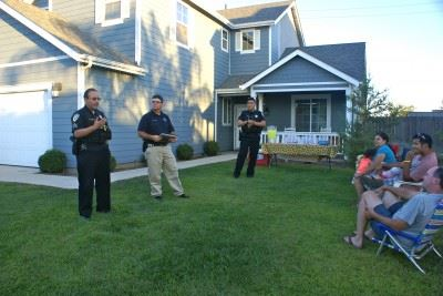 Officers speak with Community Watch members